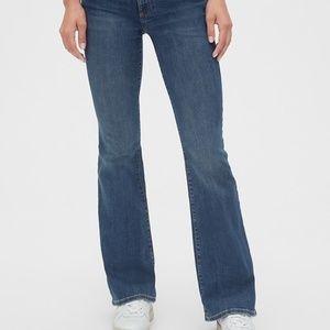 GAP Mid Rise Perfect Boot Jeans, 30P, Dark Indigo